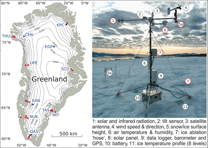 Fig 1 Locations and description of Programme for Monitoring of the Greenland Ice Sheet (PROMICE) automatic weather stations (AWSs). A: PROMICE sites. Dashed lines indicate surface elevation in metres. Red circles indicate PROMICE AWSs used in this study while blue circles indicate AWSs excluded from this study. B: PROMICE AWS instruments. Red circles indicate the instrumentation used in this study.