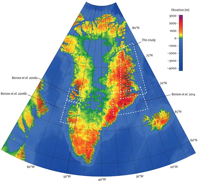 Fig. 1 Bedrock topography of Greenland: Areas investigated by stratigraphic landscape analysis are indicated (Bonow et al. 2006a, 2006b, 2014; and this study). The landscape of East Greenland is generally of higher elevation than West Greenland, where elevated areas are restricted to the coast. The load of the Greenland ice sheet causes up to 850 m subsidence of the bedrock topography in central Greenland. Peripheral bulging along the margins of Greenland, caused by this ice loading, has a negligible effect on elevation (Medvedev et al. 2013). Elevation data is from Amante & Eakins (2009).