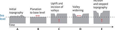 Fig. 2 Conceptual diagram illustrating the formation of peneplains through time: A: Initial topography. B: Formation of a first peneplain by planation of the landscape to base level (sea level) in a tectonically stable environment. C: Tectonic uplift or a significantly lowered base level results in valley incision below the peneplain. D: Erosion continues within the valleys resulting in valley widening and the formation of a second peneplain controlled by the new base level. Erosion primarily affects the older, elevated peneplain along its edges. E: Renewed uplift ends the formation of the second peneplain and valleys again grade the landscape to the new base level. The result is a landscape with distinct steps. At this scale and for the time span considered (c. 10 Myr), the downwearing of the peneplains is negligible (Fu et al. 2019).