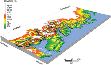 Fig. 5 Topography of the study area from Globe 1 km data (Globe Task team et al. 1999): The landscape at some distance from the coast is characterised by elevated plateaus dissected by deeply incised valleys. This configuration of landscape elements along a passive continental margin occurs on both glaciated and non-glaciated margins (e.g. Lidmar-Bergström et al. 2000; Green et al. 2013). Universal Transverse Mercator (UTM) coordinates (zone 27N) shown along the map frame.