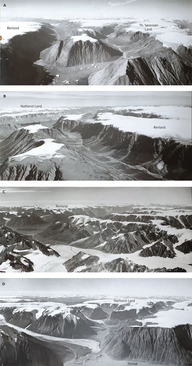 Fig. 13 The Upper Planation Surface (UPS) developed across basement rocks in the south-western interior of North-East Greenland: A: Looking south-west of Th. Sørensen Land and Renland across Nordvestfjord. B: Looking north-east from Renland towards Nordvestfjord and Nathorst Land. C: Looking south-west across the southern part of Stauning Alper towards Nordvestfjord and Renland. D: Looking south of Nathorst Land towards Furesø. Photo locations in Fig 9. Photo: Kort & Matrikelstyrelsen, Denmark.