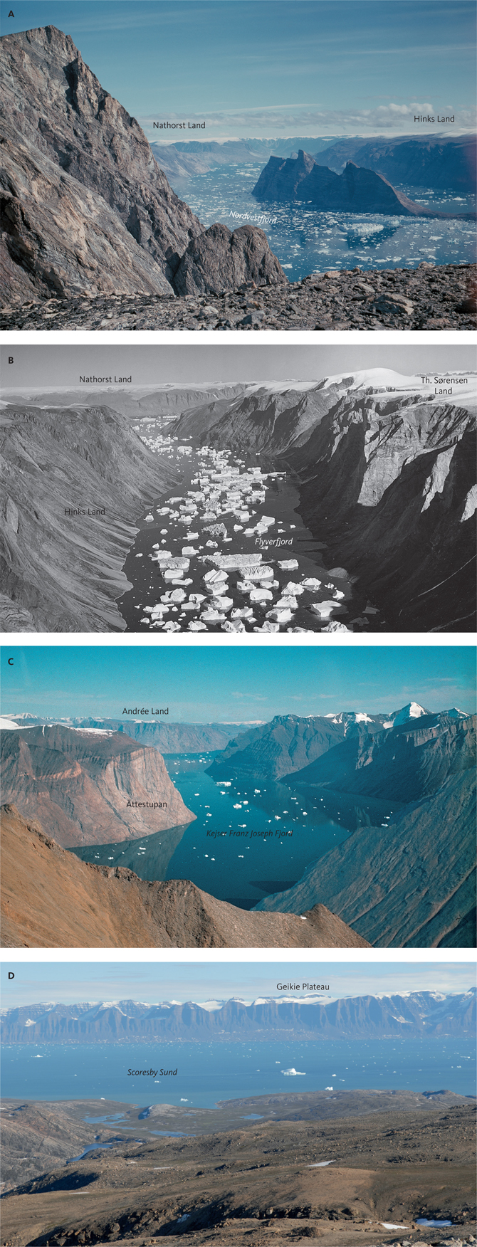Fig. 14 Thin ice covers the Upper Planation Surface (UPS) in many locations in North-East Greenland: A: View along Nordvestfjord towards the south-east. B: The east–west-trending Flyverfjord. North is to the left of the image. C: Looking west along the inner part of Kejser Franz Joseph Fjord towards Andrée Land. D: View from Milne Land towards the south across Scoresby Sund where the UPS defines the top of the basalts on Geikie Plateau. Photo locations in Fig. 9. Photos A–C: GEUS archive.