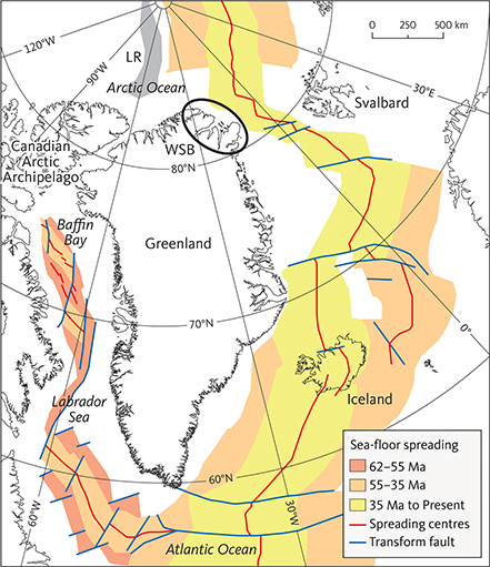 Fig. 1 Cenozoic sea-floor spreading in the northern North Atlantic area. Sea-floor spreading between North America and Greenland (62–55 Ma) caused the first stage of the Eurekan Orogeny. During this time, Greenland moved together with Europe. Spreading between Europe and Greenland (55–35 Ma) resulted in the second stage of the Eurekan Orogeny. During this time, North America, Greenland and Europe moved as separate plates. Sea-floor spreading ceased west of Greenland (at c. 35 Ma) after which Greenland moved together with North America and the Eurekan Orogeny ended. The Danmarkshavn Basin is located off North-East Greenland between 76 and 82°N. LR: Lomonosov Ridge. WSB: Wandel Sea Basin. Modified from Brozena et al. (2003), Oakey & Chalmers (2012) and Gaina et al. (2017).