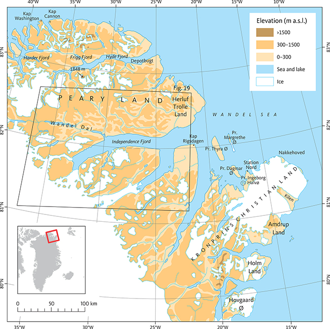 Fig. 3 Elevation and place names of the study area in eastern North Greenland. Pr: Prinsesse.
