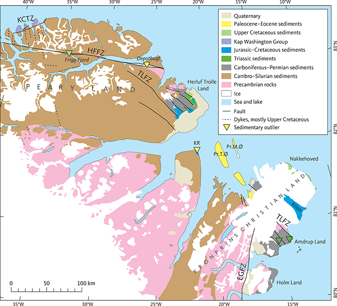 Fig. 4 Geology of the Carboniferous–Palaeogene Wandel Sea Basin and surrounding areas. The remnants of the Carboniferous to Palaeogene sediments occur between northern Peary Land and Kronprins Christian Land and thus define the extent of the basin. Kap Washington Group is of Campanian to earliest Palaeogene age (Håkansson & Pedersen 2015). Håkansson & Pedersen (2015) indicated the Trolle Land Fault Zone as one continuous zone from Herluf Trolle Land to Kronprins Christian Land. Here, we indicate one possible correlation between these two areas. Based on Escher & Pulvertaft 1995 with modifications after Croxton et al. 1980; Hovikoski et al. 2018; Piasecki et al. 2018. EGFZ: East Greenland Fracture Zone. HFFZ: Harder Fjord Fault Zone. KCTZ: Kap Canon Thrust Zone. KR: Kap Rigsdagen. Pr.M.Ø: Prinsesse Margrethe Ø. Pr.T.Ø: Prinsesse Thyra Ø. TLFZ: Trolle Land Fault Zone.