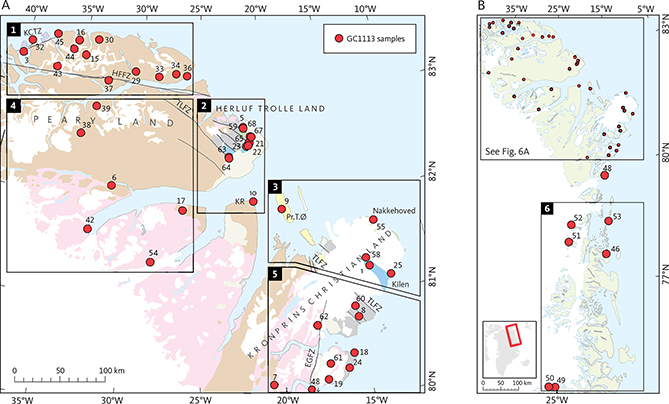 Fig. 6 Location of samples that yielded apatite and division of the study area into six geographical areas with similar thermal histories used to define the timing of key episodes in Fig. 10. A: Areas 1–5. B: Area 6. Geology legend in Fig. 4. EGFZ: East Greenland Fracture Zone. HFFZ: Harder Fjord Fault Zone. KCTZ: Kap Canon Thrust Zone. KR: Kap Rigsdagen. Pr.T.Ø: Prinsesse Thyra Ø. TLFZ: Trolle Land Fault Zone.