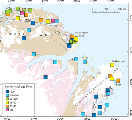 Fig. 7 Apatite fission-track ages in outcrop samples from eastern North Greenland (data in Table 2). Youngest ages <60 Ma are focussed along the north coast, while older ages are found in inland samples. EGFZ: East Greenland Fracture Zone. HFFZ: Harder Fjord Fault Zone. KCTZ: Kap Canon Thrust Zone. KR: Kap Rigsdagen. Pr.T.Ø: Prinsesse Thyra Ø. TLFZ: Trolle Land Fault Zone. Geology legend in Fig. 4.