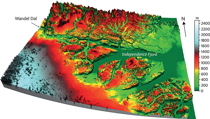 Fig. 19 3D-elevation model of the region around Independence Fjord (GLOBE 1999; map location in Fig. 3). Note that Independence Fjord and Wandel Dal (valley in Danish) are incised below a low-relief surface at about 1 km a.s.l. This is in contrast to more elevated and dissected, alpine relief north-west of Independence Fjord. The width of the diagram is about 250 km. Illustration: Johan M. Bonow.