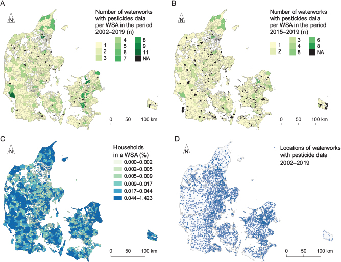 Fig 2 Number of public waterworks with pesticide data for each water supply area (WSA) for A: the entire study period (2002–2019) and B: the last five years (2015–2019). C: Percentage of Danish households (n = 2 086 797) located in each of the WSA, equal count in each interval. D: Location of all public waterworks with at least one pesticide analysis in the period 2002–2019 included in the final dataset. Note: the symbols in D have transparency to visualise overlapping locations. NA: no data.
